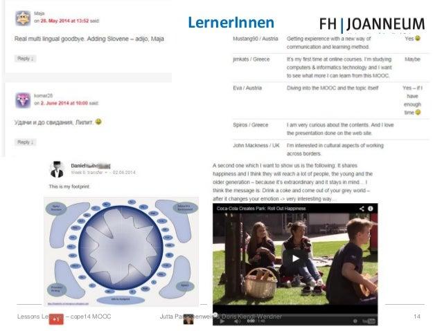 Jutta Pauschenwein & Doris Kiendl-Wendner 14Lessons Learned – cope14 MOOC LernerInnen