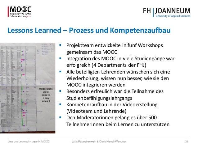 Lessons Learned – Prozess und Kompetenzaufbau  Projektteam entwickelte in fünf Workshops gemeinsam das MOOC  Integration...