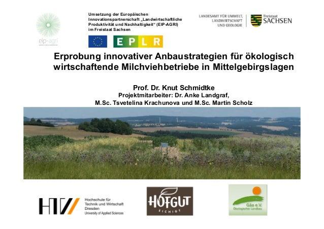 Erprobung innovativer Anbaustrategien für ökologisch wirtschaftende Milchviehbetriebe in Mittelgebirgslagen Prof. Dr. Knut...