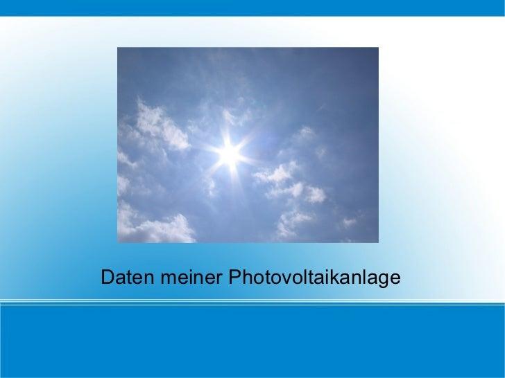 Daten meiner Photovoltaikanlage