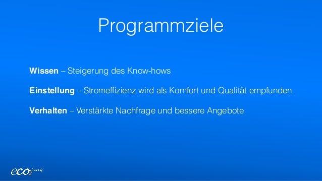 Programmziele Wissen – Steigerung des Know-hows Einstellung – Stromeffizienz wird als Komfort und Qualität empfunden Ver...