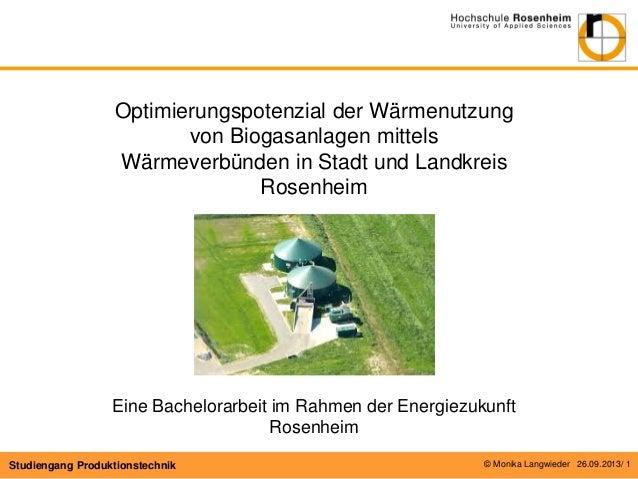 Optimierungspotenzial der Wärmenutzung von Biogasanlagen mittels Wärmeverbünden in Stadt und Landkreis Rosenheim  Eine Bac...