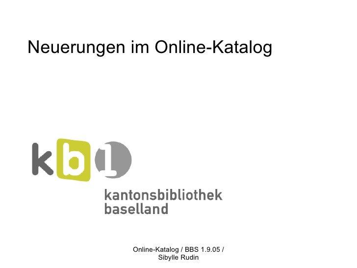Neuerungen im Online-Katalog