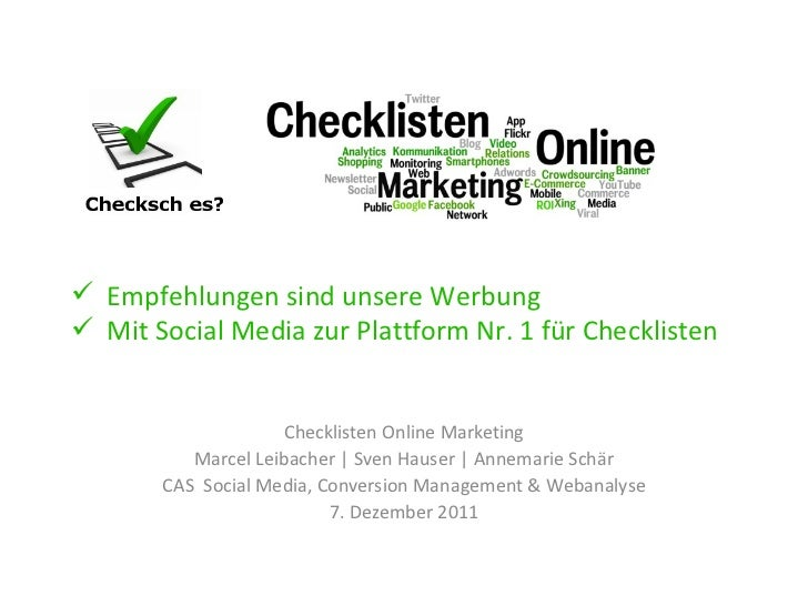 Checklisten Online Marketing Marcel Leibacher | Sven Hauser | Annemarie Schär CAS  Social Media, Conversion Management & W...