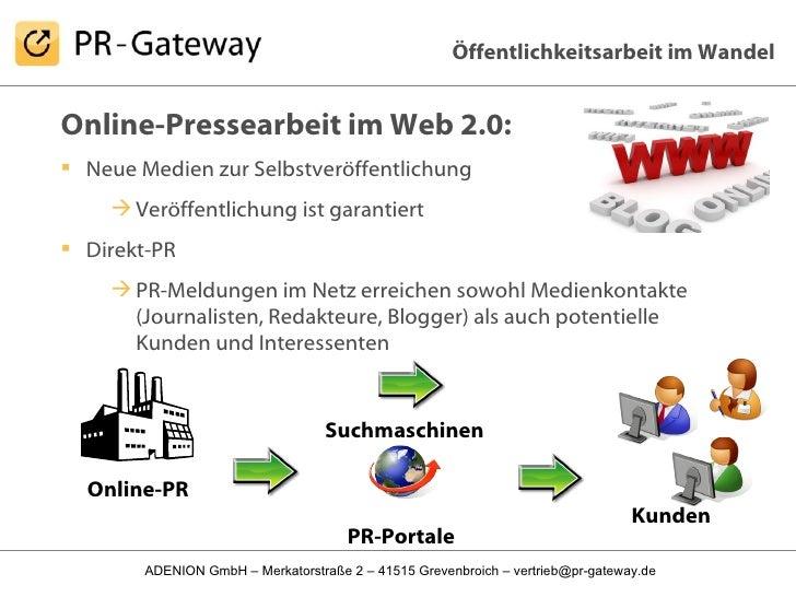 <ul><li>Online-Pressearbeit im Web 2.0: </li></ul><ul><li>Neue Medien zur Selbstveröffentlichung </li></ul><ul><ul><li>Ver...