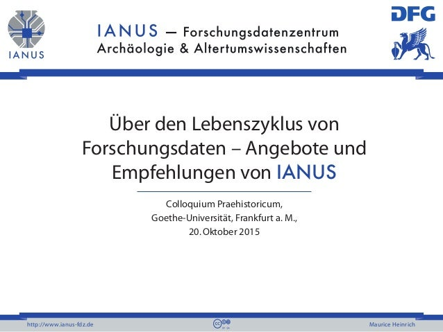http://www.ianus-fdz.de Maurice Heinrich Über den Lebenszyklus von Forschungsdaten – Angebote und Empfehlungen von IANUS C...