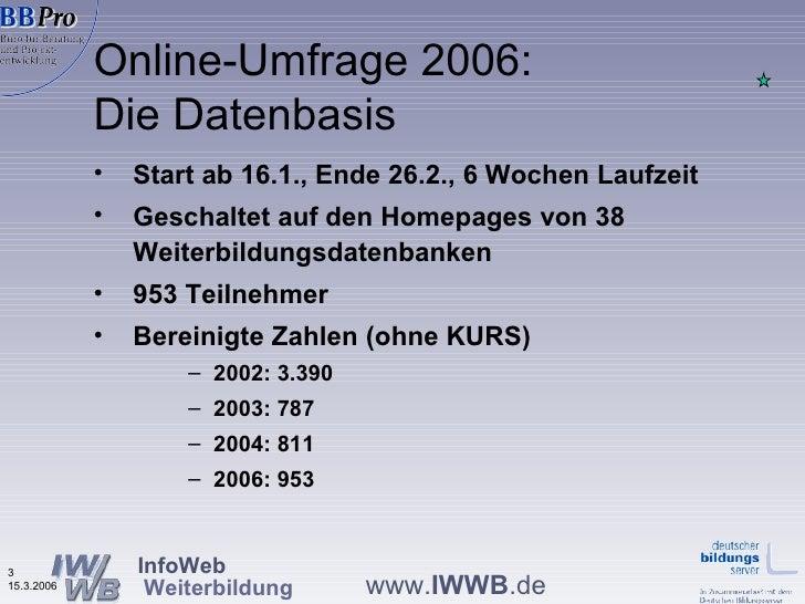 Praesentation Online Befragung 2006 Steuerungsgremium Maerz 2006 Slide 3