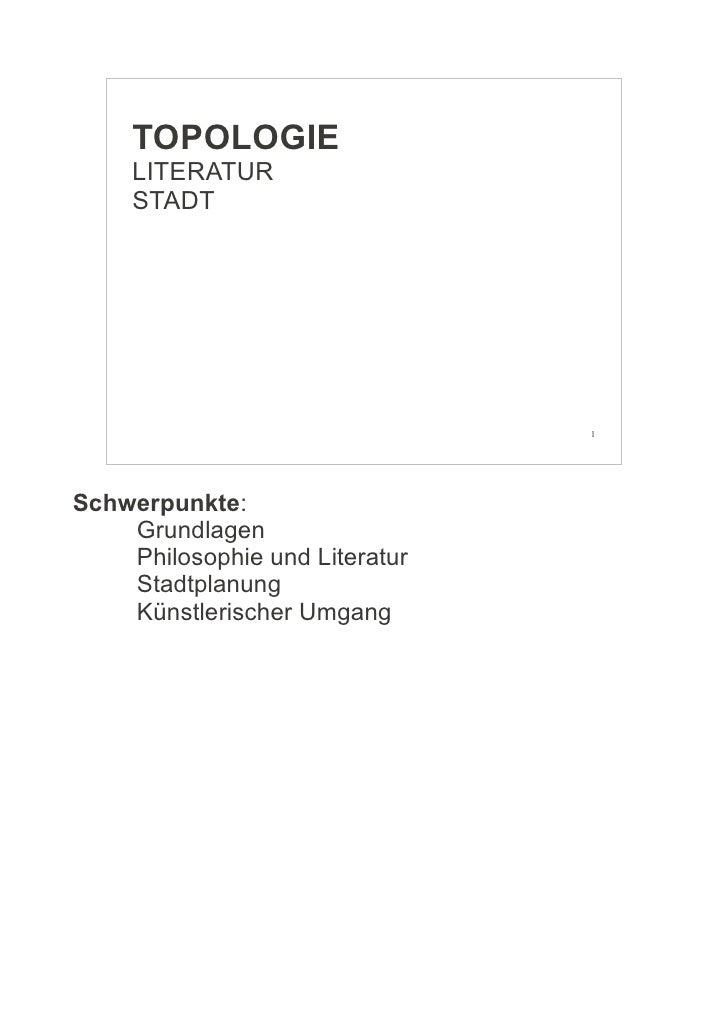 TOPOLOGIE - LITERATUR - STADT