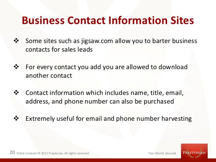 Business Contact Information Sites  Some sites such as jigsaw.com allow you to barter business   contacts for sales leads...