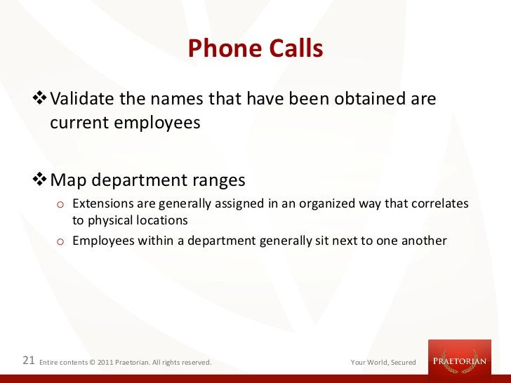 Phone Calls Validate the names that have been obtained are  current employees Map department ranges          o Extension...