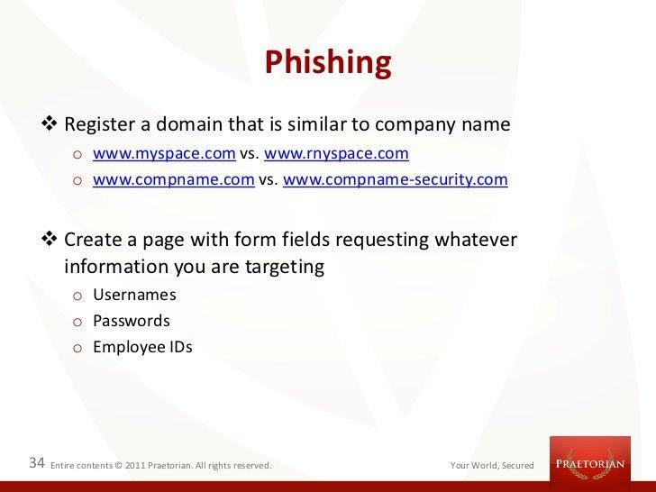 Phishing  Register a domain that is similar to company name          o www.myspace.com vs. www.rnyspace.com          o ww...