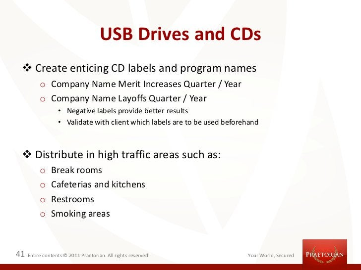 USB Drives and CDs  Create enticing CD labels and program names          o Company Name Merit Increases Quarter / Year   ...