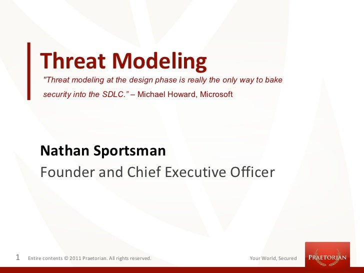 """Threat Modeling          """"Threat modeling at the design phase is really the only way to bake          security into the SD..."""
