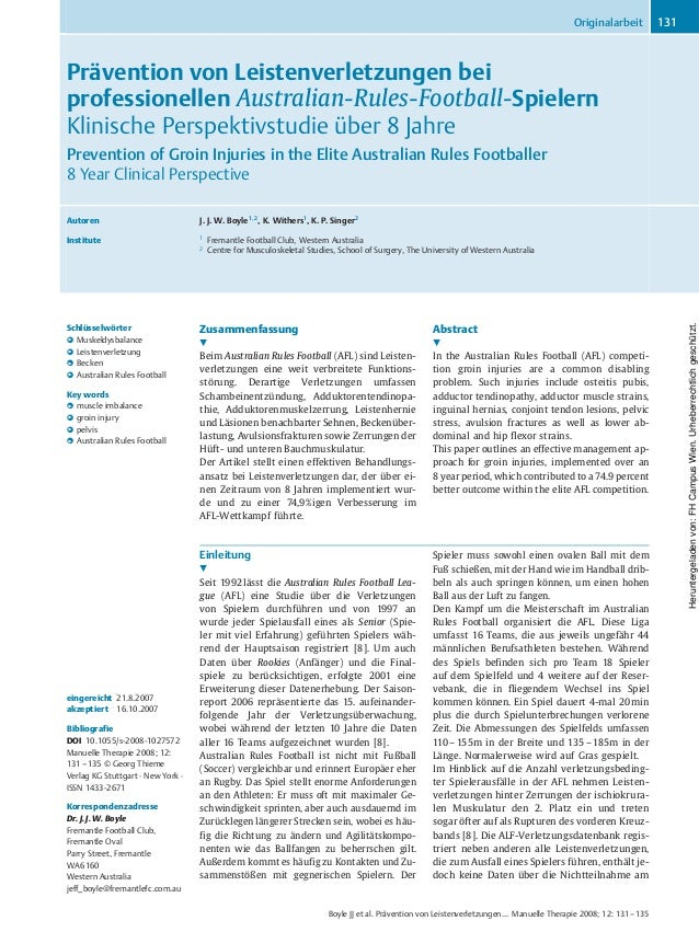 Prävention von Leistenverletzungen bei professionellen Australian-Rules-Football-Spielern Klinische Perspektivstudie über ...