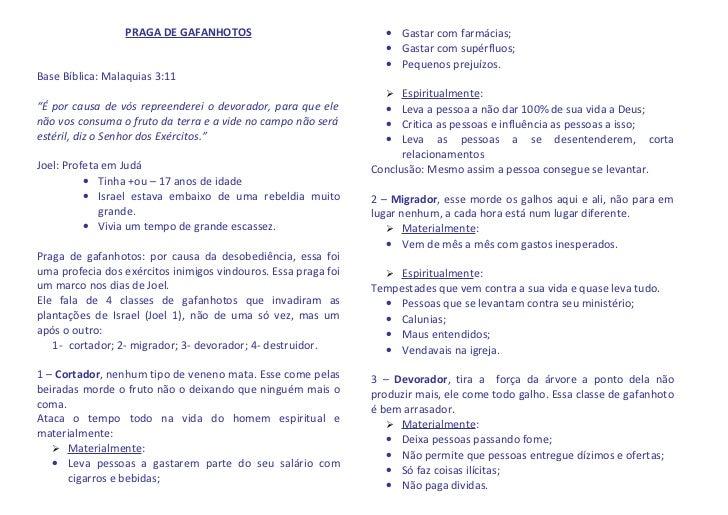 PRAGA DE GAFANHOTOS                               • Gastar com farmácias;                                                 ...
