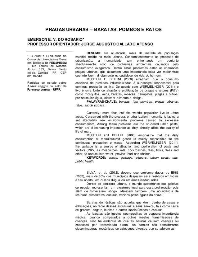 PRAGAS URBANAS – BARATAS, POMBOS E RATOS  EMERSON E. V. DO ROSARIO*  PROFESSOR ORIENTADOR: JORGE AUGUSTO CALLADO AFONSO  *...