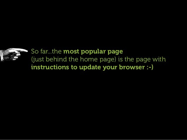 So far...the most popular page(just behind the home page) is the page withinstructions to update your browser :-)