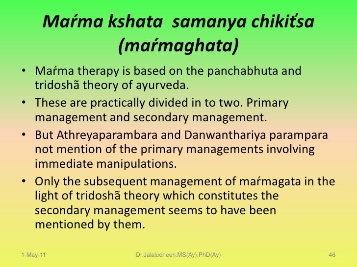 Even though Marmabhighatha is of Agantuka in nature, in the later phases,they result in imbalance of the the Tridoshas als...