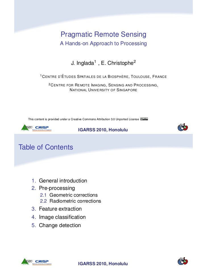 Pragmatic Remote Sensing                          A Hands-on Approach to Processing                                  J. In...