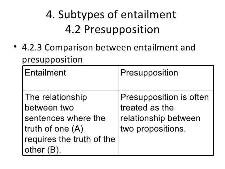 4. Subtypes of entailment           4.2 Presupposition• 4.2.3 Comparison between entailment and  presupposition  Entailmen...