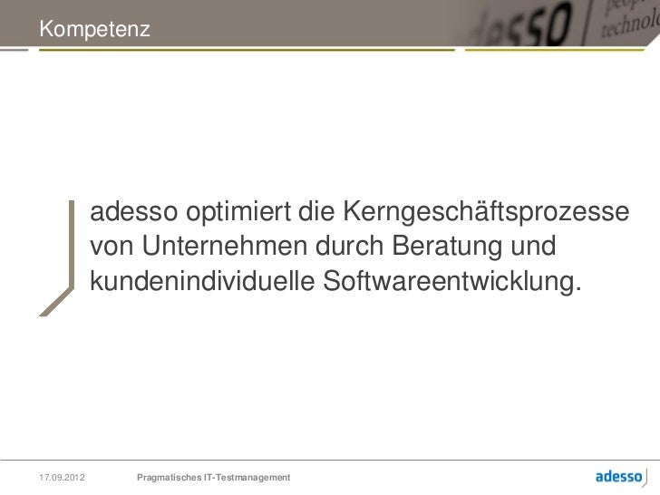 Pragmatisches IT-Testmanagement - QS mit PITPM Slide 2
