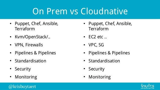@krisbuytaert On Prem vs Cloudnative ● Puppet, Chef, Ansible, Terraform ● Kvm/OpenStack/.. ● VPN, Firewalls ● Pipelines & ...