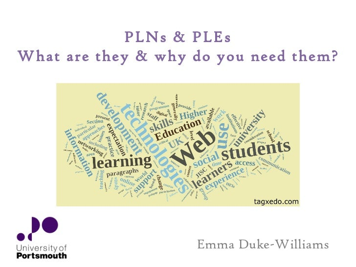 Emma Duke-Williams PLNs & PLEs What are they & why do you need them?