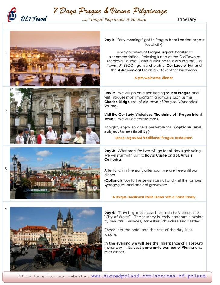 7 Days Prague & Vienna Pilgrimage    DLI Travel            ...a Unique Pilgrimage & Holiday                           Itin...