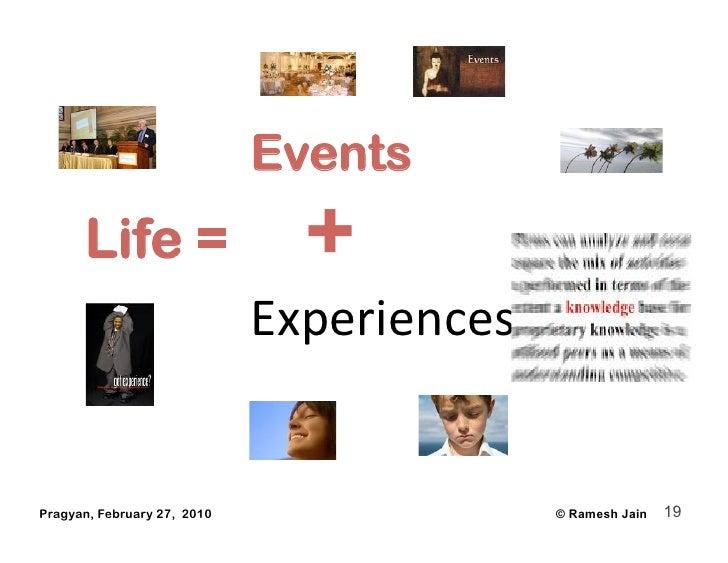 Events       Life =                   +                              Experiences   Pragyan, February 27, 2010            ...