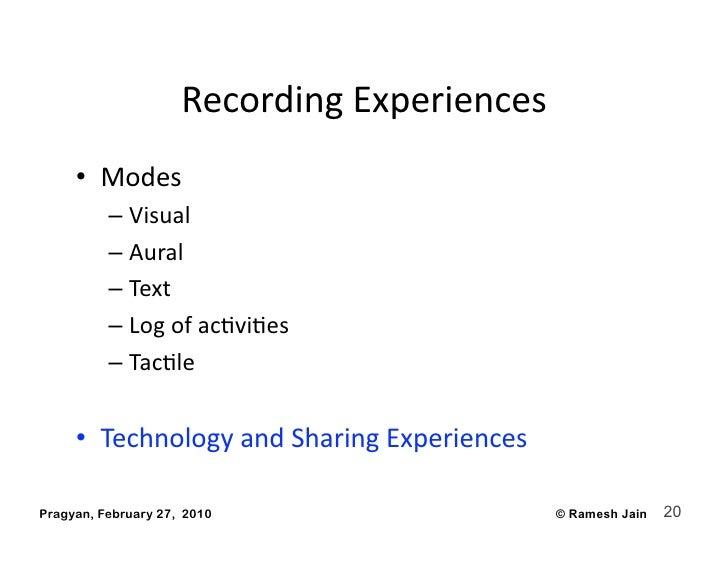 RecordingExperiences      • Modes           – Visual           – Aural           – Text           – LogofacAv...