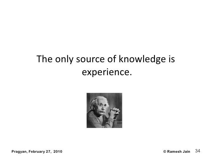 Theonlysourceofknowledgeis                       experience.     Pragyan, February 27, 2010              © Ramesh J...