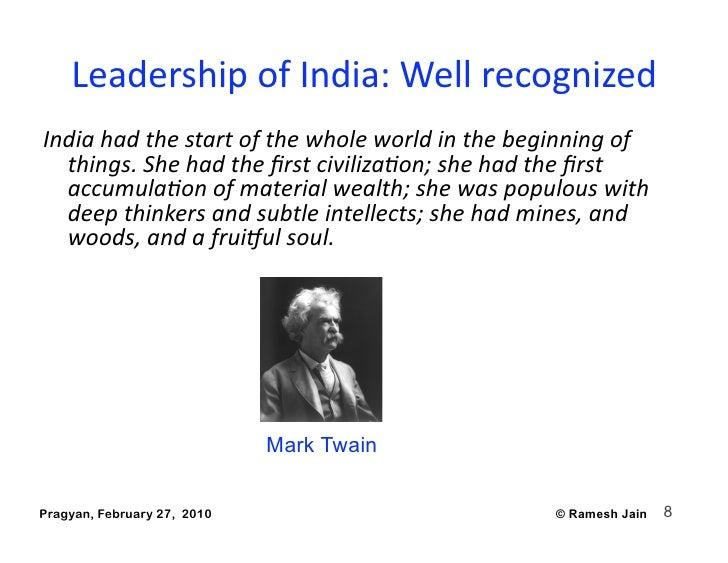 LeadershipofIndia:Wellrecognized Indiahadthestartofthewholeworldinthebeginningof   things.Shehadthefir...
