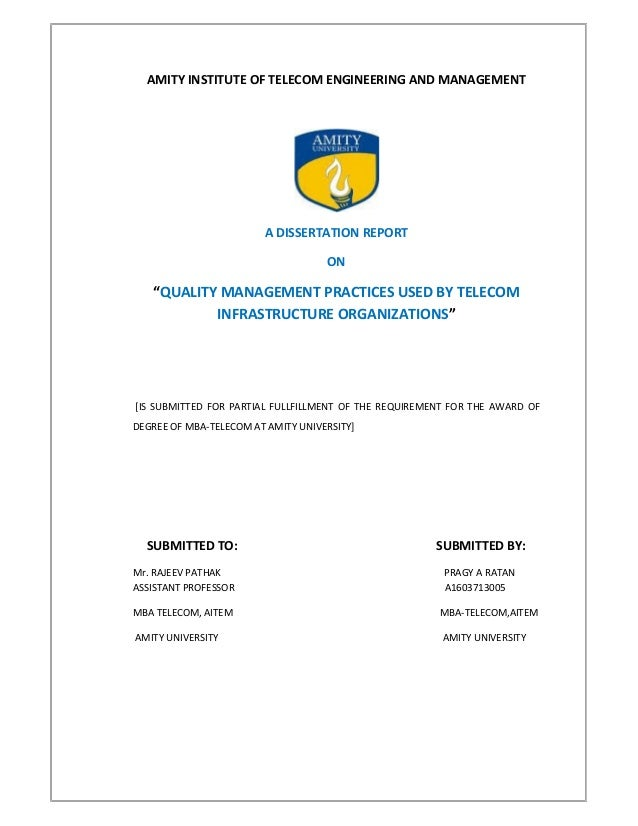Dissertation report on telecom
