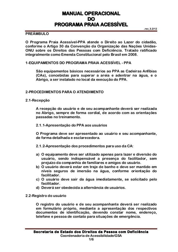 MANUAL OPERACIONAL                          DO                PROGRAMA PRAIA ACESSÍVEL                                    ...