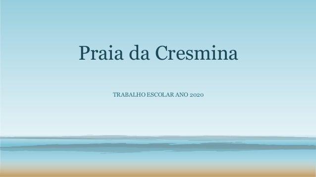 Praia da Cresmina TRABALHO ESCOLAR ANO 2020