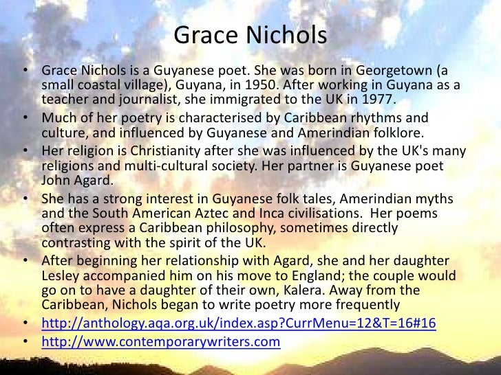 grace nichols poetry uses figurative language achieve her