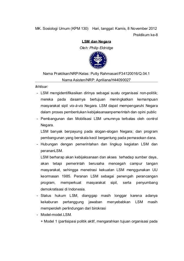 MK. Sosiologi Umum (KPM 130) Hari, tanggal: Kamis, 8 November 2012                                                        ...