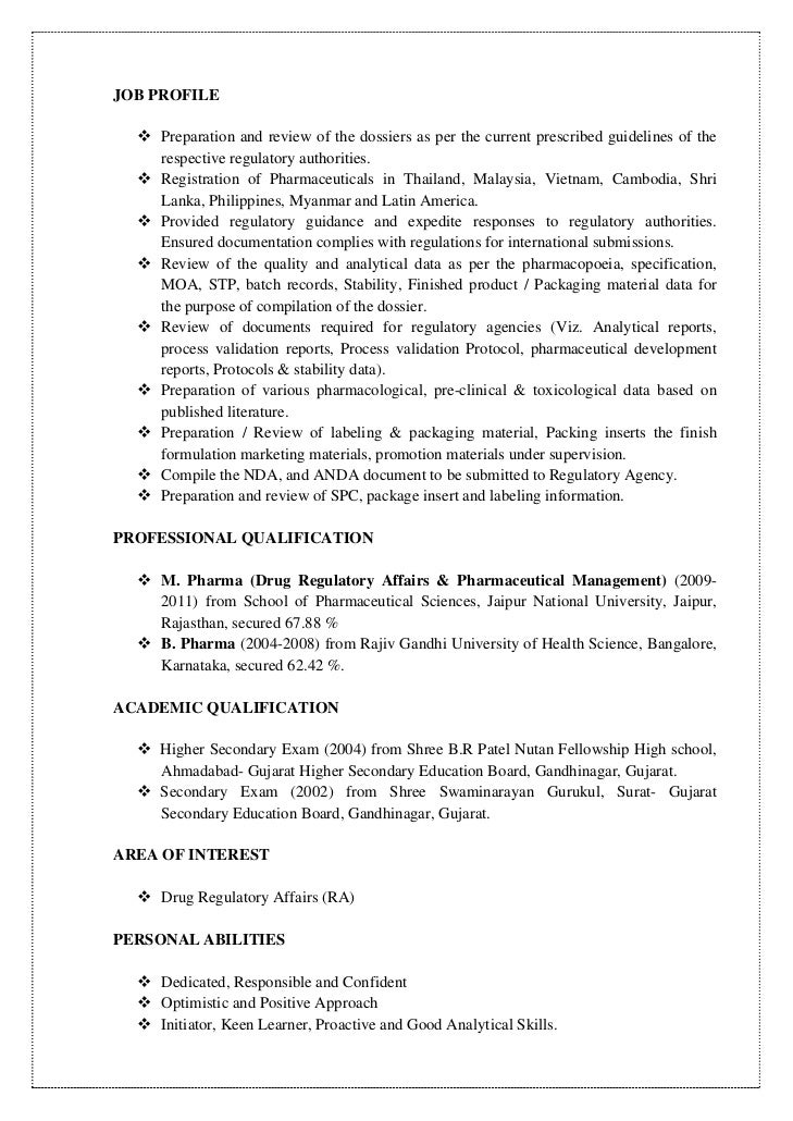 pharmaceutical regulatory affairs resume sample prakash cv