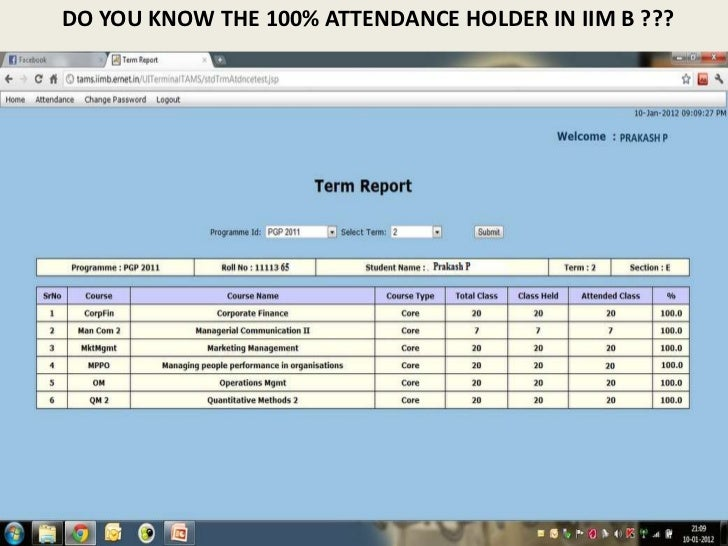 DO YOU KNOW THE 100% ATTENDANCE HOLDER IN IIM B ???