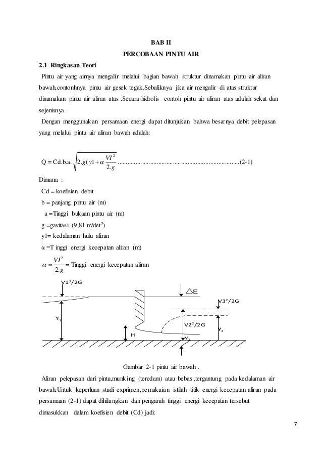 Laporan Praktikum Hidrolika Pintu Air Bab 1 4