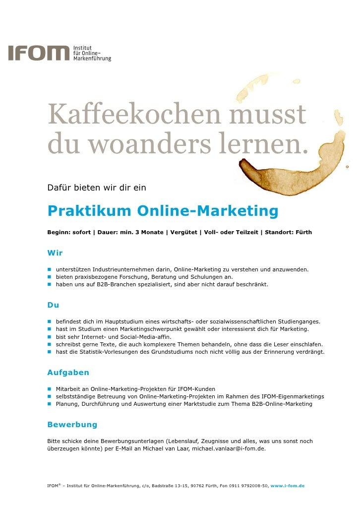 Praktikum Online Marketing Bei Ifom