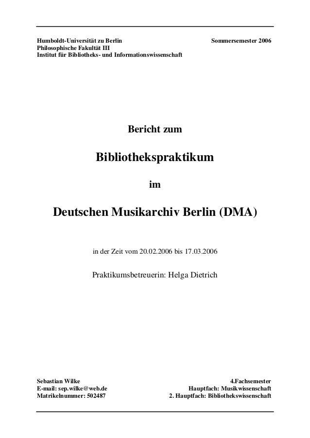 Humboldt-Universität zu Berlin Sommersemester 2006Philosophische Fakultät IIIInstitut für Bibliotheks- und Informationswis...