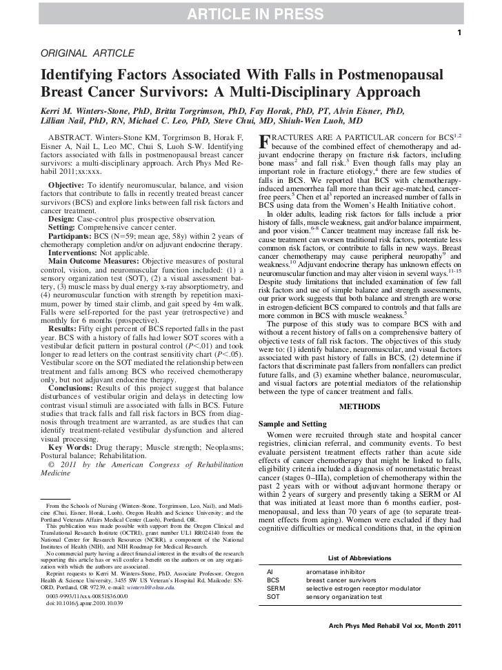 1ORIGINAL ARTICLEIdentifying Factors Associated With Falls in PostmenopausalBreast Cancer Survivors: A Multi-Disciplinary ...