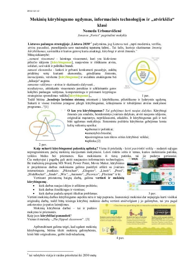 """2012-12-12 Mokinių kūrybingumo ugdymas, informacinės technologijos ir """"atvirkščia"""" klasė Nomeda Urbonavičienė Jonavos """"Ner..."""