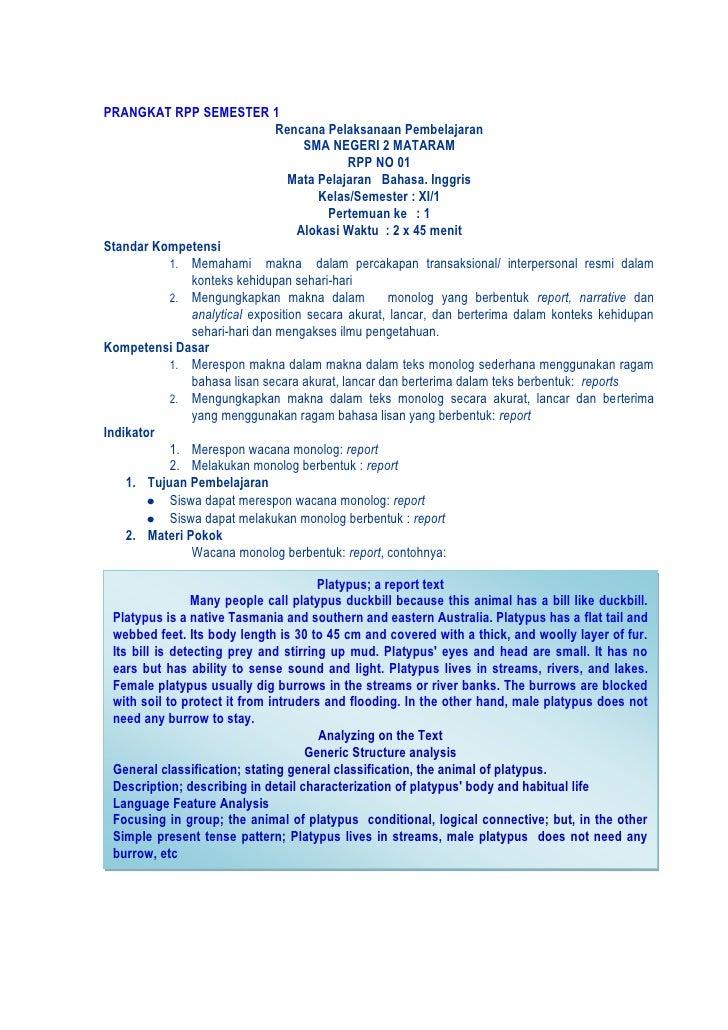 PRANGKAT RPP SEMESTER 1<br />Rencana Pelaksanaan Pembelajaran<br />SMA NEGERI 2 MATARAM <br />RPP NO 01<br />Mata Pelajara...