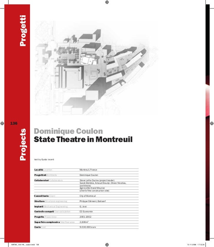 Progetti136                        Dominique Coulon         Projects                        State Theatre in Montreuil    ...