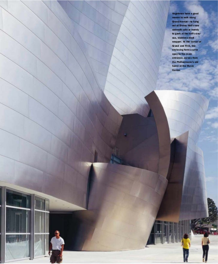 Angelenos have a goodreason to walk alongGrand Avenue—to hangout at Disney Hall's newsidewalk café or merelyto gawk at the...