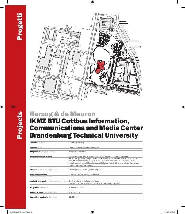 Progetti Projects  44  Herzog & de Meuron IKMZ BTU Cottbus Information, Communications and Media Center Brandenburg Techni...