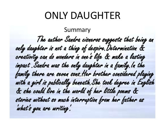 Only Daughter Analysis