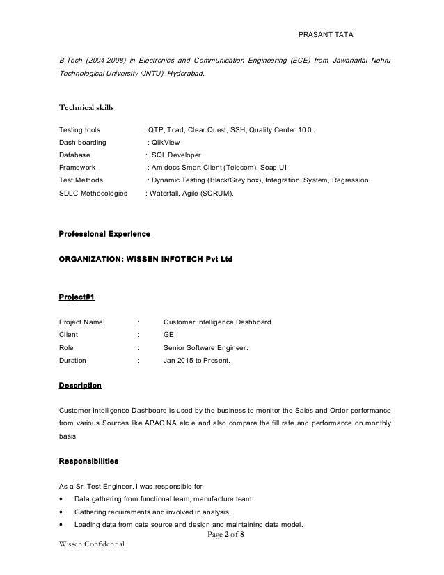Test Electronics Engineer Resume Functional Testing